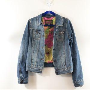 Hollister Distressed Floral Lined Jean Jacket